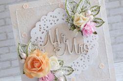 Kartka ślubna w morelowym tonie