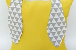 Poduszka ozdobna z uszami 40x40cm żółta