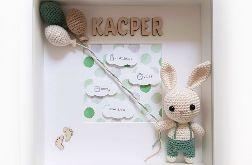 Metryczka narodzin dziecka - zielony króliczek