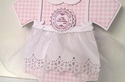Kartka w kształcie sukieneczki na chrzest