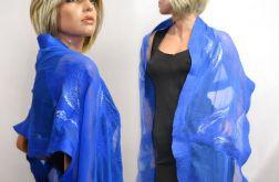 Niebieski szal jedwabny do sukienki