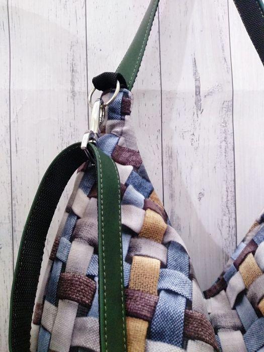 Torebka listonoszka krata niebieska popielata