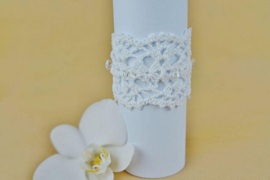 Bransoletka szydełkowa biała 5 - Bransoletka handmade