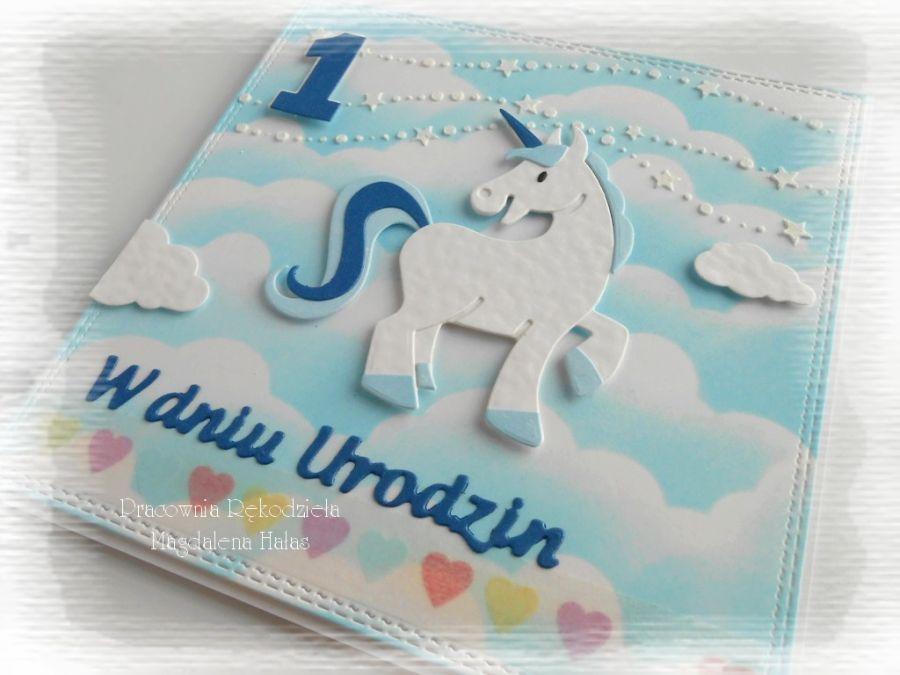 Urodzinowa z jednorożcem, niebieska
