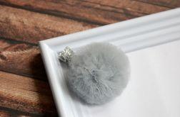 FairyBows * spinka POMPONIK szary + srebro