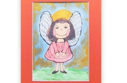 Aniołek kolorowy obrazek malowany ręcznie