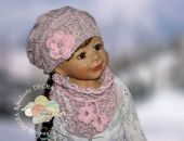 czapka z chustką  i rekawiczki różowo/szara3 melanż