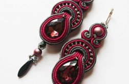 Bordowo-szare kolczyki z perłami Swarovski