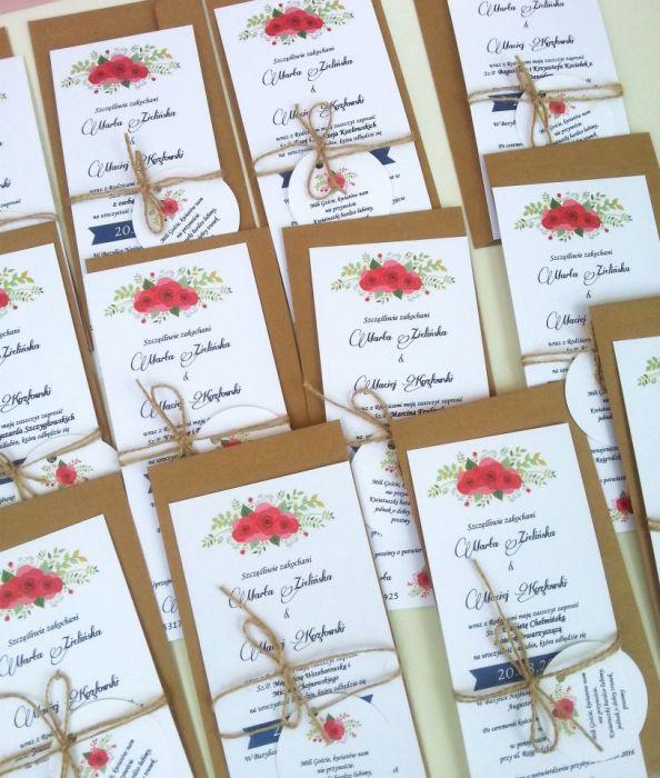 różane zaproszenia ślubne