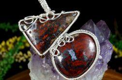 Srebrny wisior z agatem koronkowym czerwień