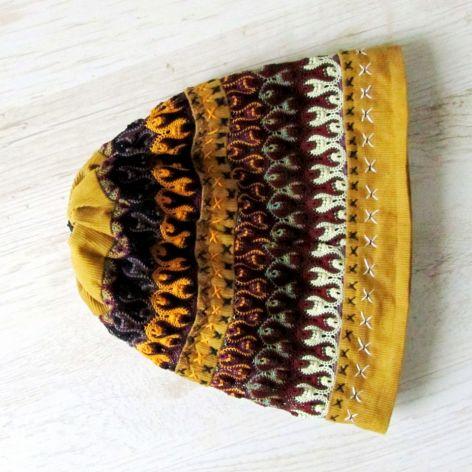 czapka beanie -sztuka hand made