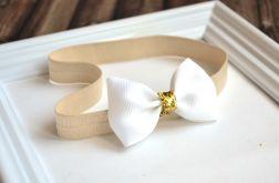 FairyBows * opaska większa KOKARDKA biała + złoto