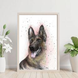 Pies Owczarek Niemiecki Digital painting