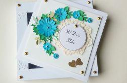 Kartka ślubna z niebieskim bukietem