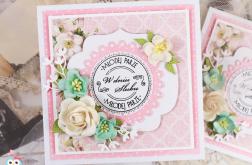 Kartka ślubna różowa