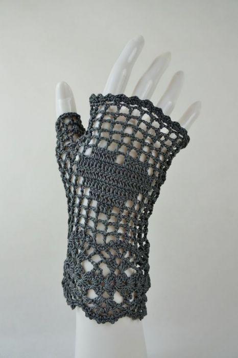 Romantyczne rękawiczki mitenki grafit - grafitowe rękawiczki