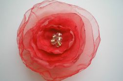 Broszka kwiat czerwony