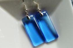 Niebieski kryształ,prostokąty w srebrze,kolcz