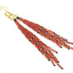 Kolczyki szkło Miyuki,Toho, długie czerwone