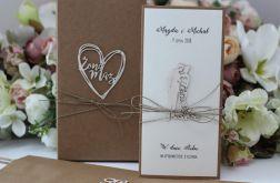 Oryginalna kartka rustykalna na ślub zestaw 3