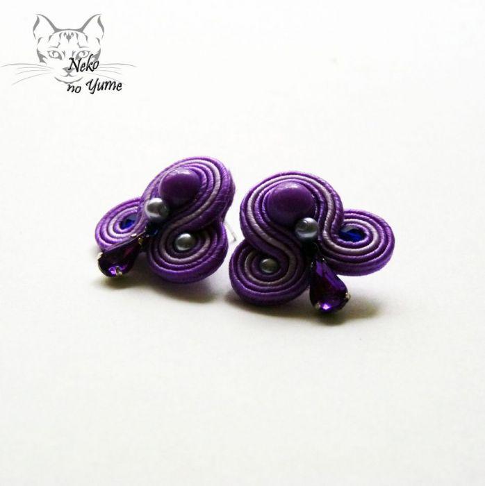 Małe kolczyki sutasz - fiolet