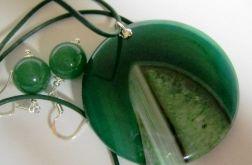 Agat z kryształem, zielony komplet