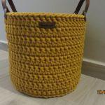 Koszyk ze sznurka z uchwytami musztardowy -