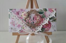 Kartka ślubna kopertowa - róż
