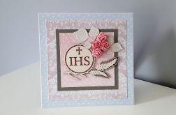 Kartka Komunia Święta IHS różowa różyczki