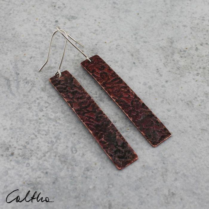 Czerwone - miedziane kolczyki 190213-02