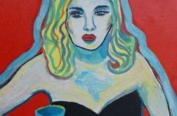 obraz olejny kobieta z winem