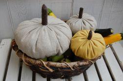 Duża, lniana dynia - jesienna dekoracja