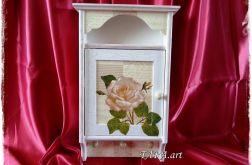 Szafka na klucze - biała róża