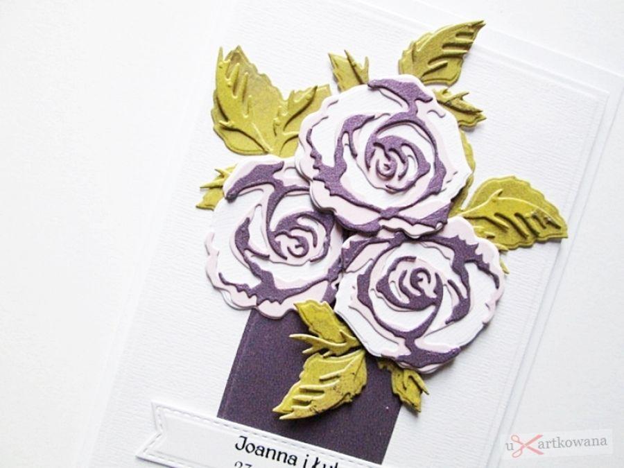 Kartka Ślubna - wazon z różami - Kartka Ślubna - wazon z różami