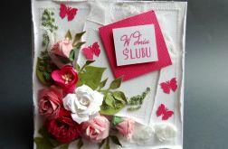 Kartka ślubna w różu