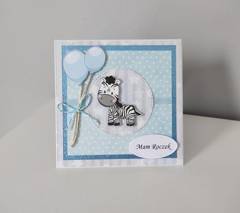 Kartka na Roczek niebieska błękitna zebra