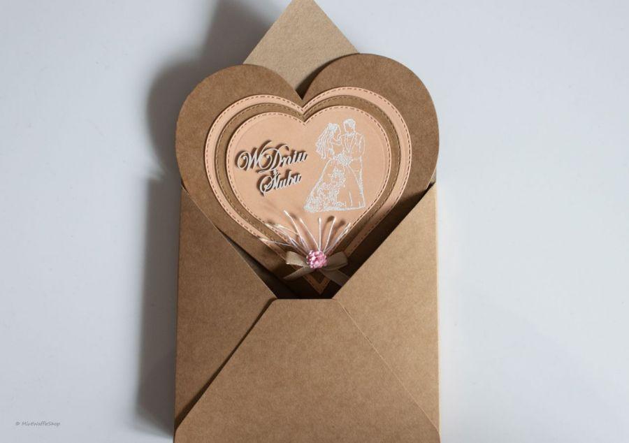 Kartka ślubna W dniu ślubu serce - W kopercie 3D