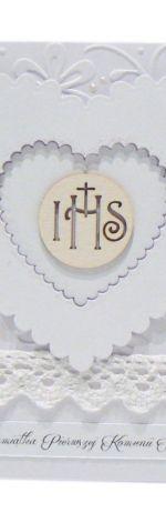 Pamiątka Komunii Św. kwiaty białe serce IHS