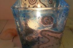 świecznik szklany malowany morska piana
