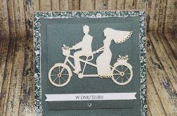 Kartka ślubna-Młoda para na rowerze
