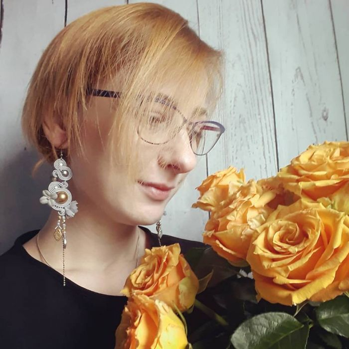 Fleur 5 - kiatowe sutaszowe kolczyki sutasz