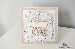 Kartka na Chrzest Narodziny Roczek z wózeczkiem