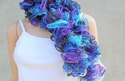 FLAMENCO RUFFLE SCARF - szal wiosenny fiolet, niebieski