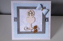 Kartka Komunia Święta IHS kielich niebieska