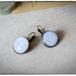 Kolczyki szklany kaboszon ~Błękitny ornament~
