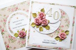 Kartka ROCZNICA ŚLUBU różowo-beżowa