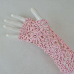 Rękawiczki mitenki handmade różowe 01