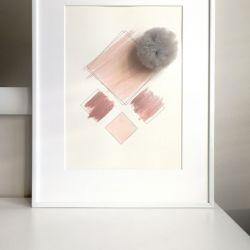 Obrazek geometryczny z pomponem + RAMKA