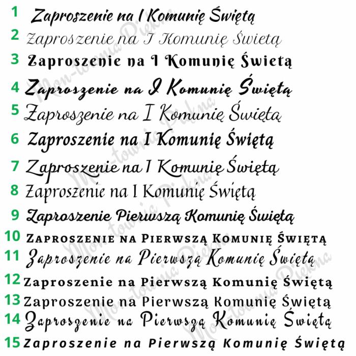 Zaproszenia na I Komunię Św. wz9 - wzory czcionek