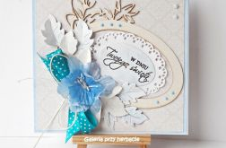 Kartka beżowo-niebieska